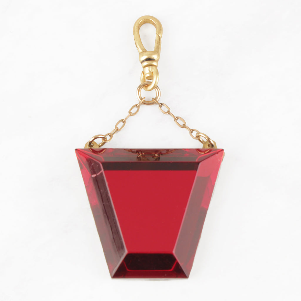 Vintage 1930's Cherry Red Glass Trapezoid Lindsay Charm