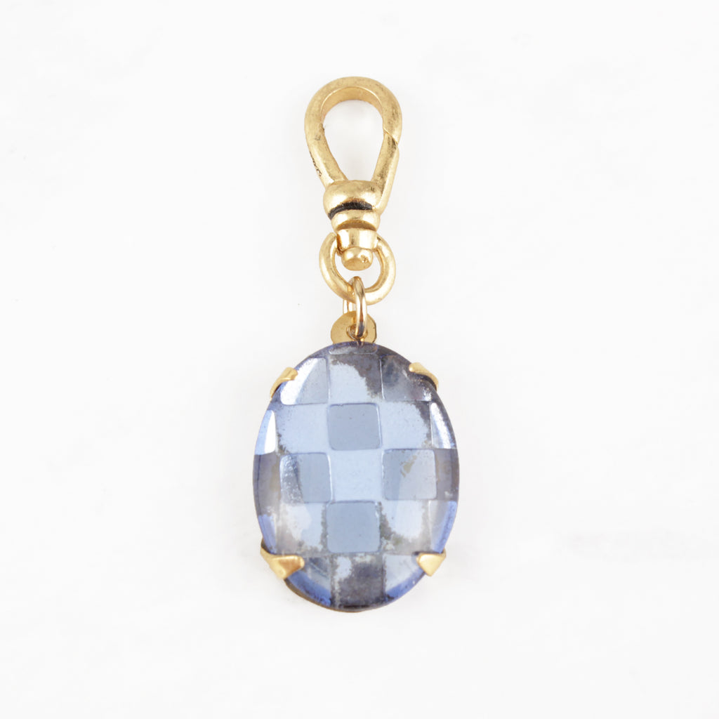 Vintage Checkerboard Perriwinkle Blue Glass Charm