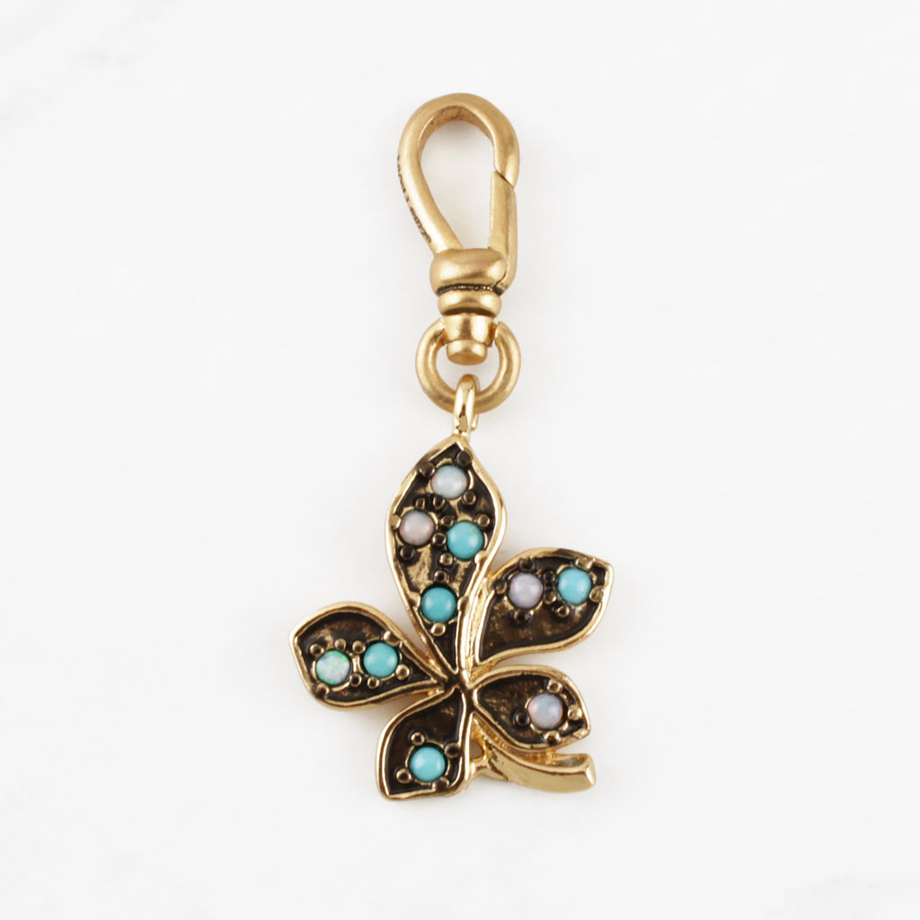 Turquoise and Opal Leaf Charm