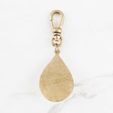 Vintage Mother of Pearl and Hammered Teardrop Charm