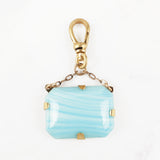 Antique Czech Glass Candy Blue 10 Karat Gold Sama Charm