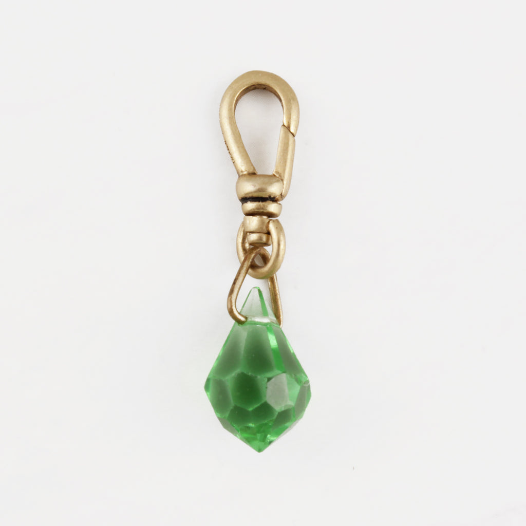 Antique Faceted Green Glass Freshness Charm