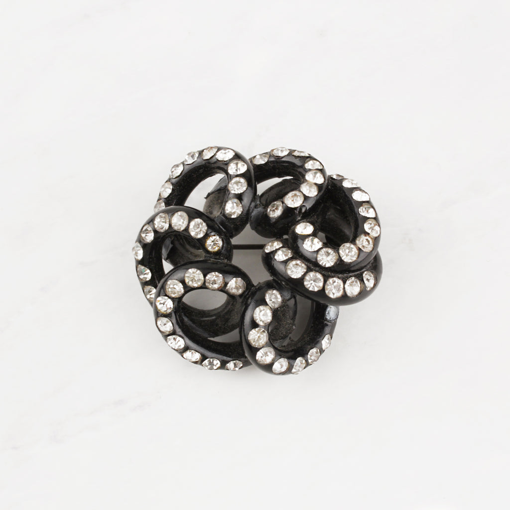 Vintage Crystal and Black Bakelite Squiggle Sammy Brooch