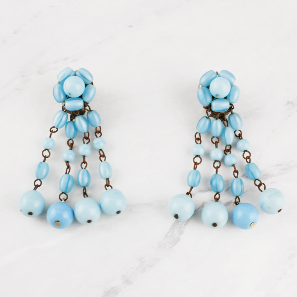 Antique Sky Blue Glass Tassle Tanessa Earrings