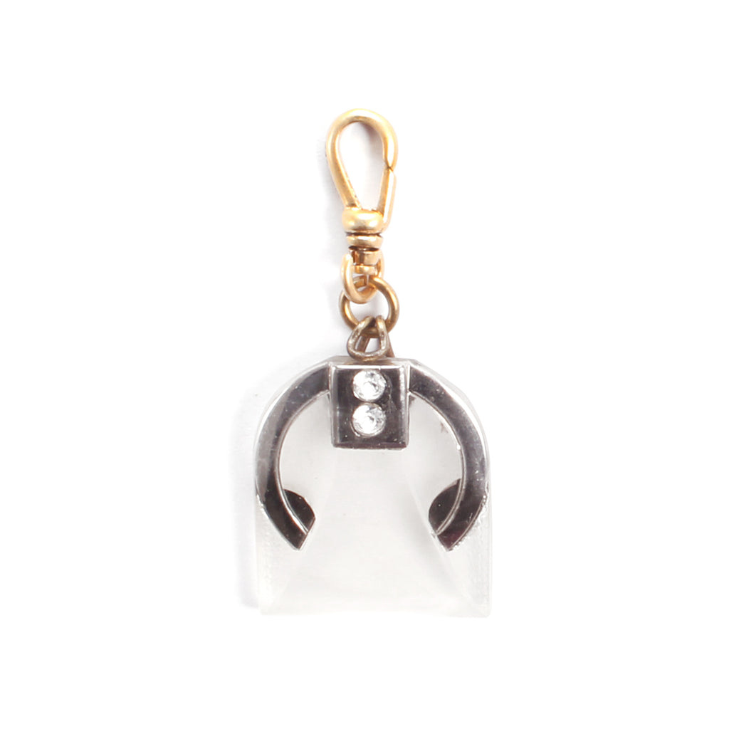 Vintage Art Deco Frosted Glass Charm - Photo