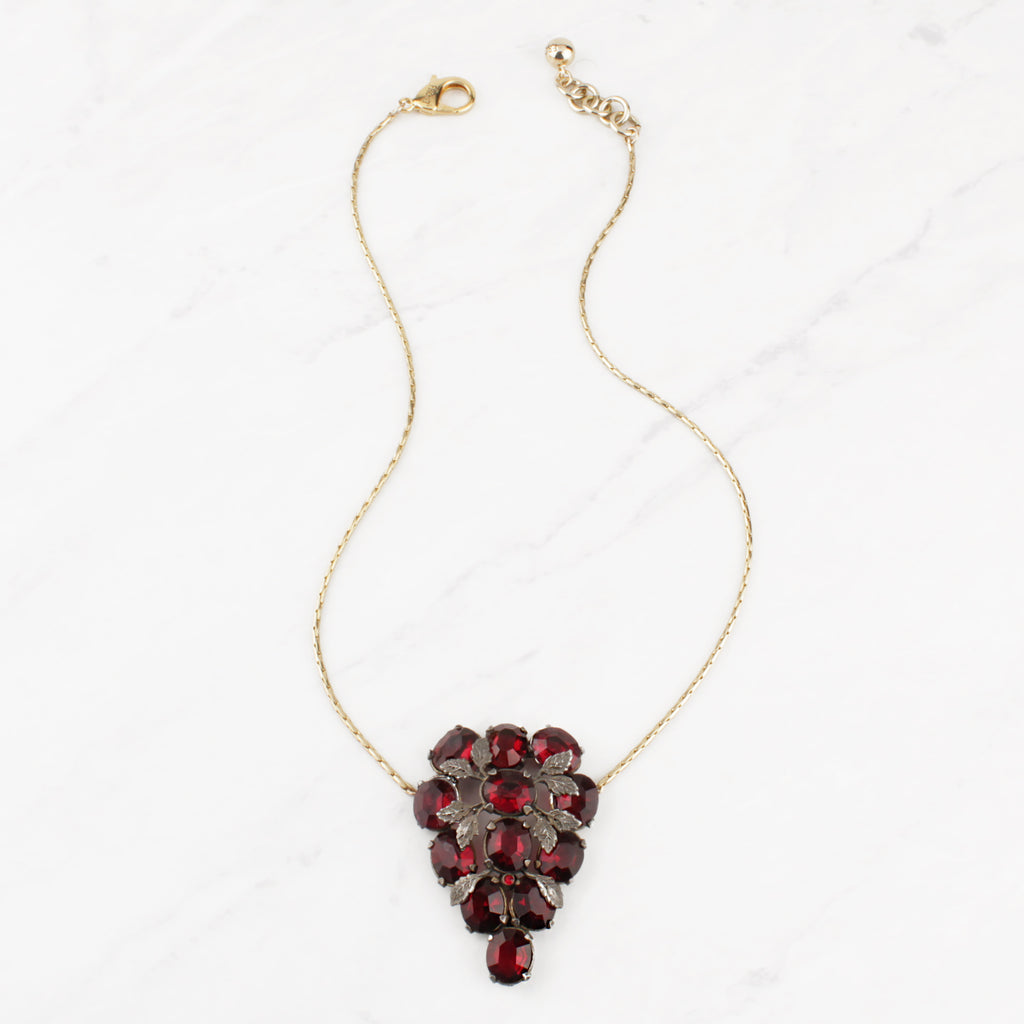 Vintage Ruby Red Crystal Rubirosa Necklace