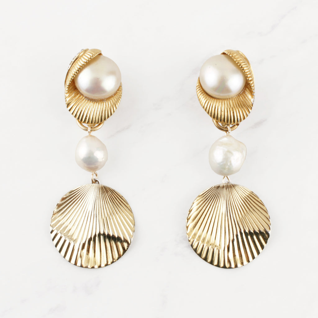 Vintage Gold and Pearl Opulence Tinsley Earrings