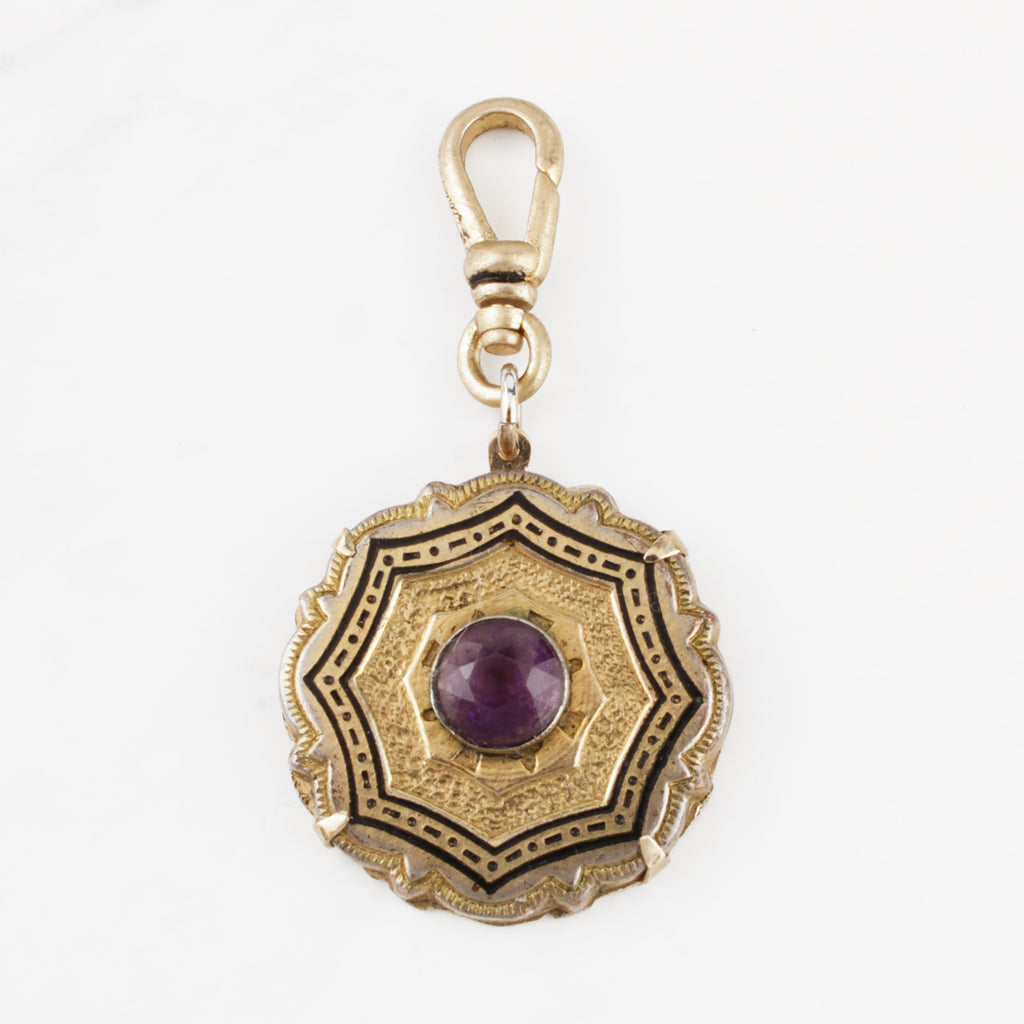 Antique 12 Karat Goldfill Victorian Enamel and Amethyst Glass Amoretta Charm