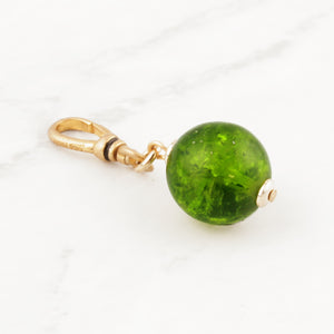 Vintage Green Crackle Glass Bauble Charm