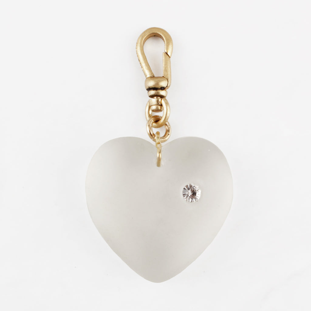 Vintage Frosted n' Studded Glass Heart Harleth Charm
