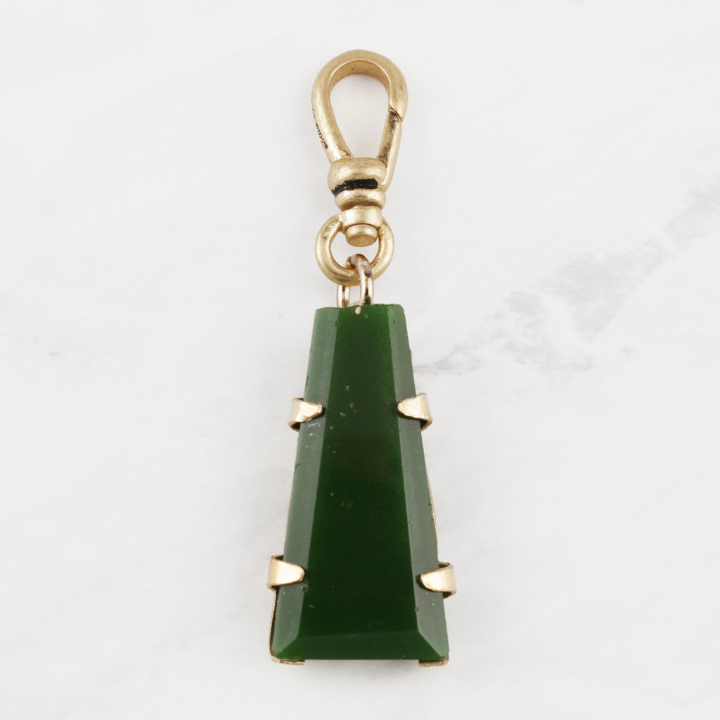 Antique Carved Trapezoid Green Glass Charm