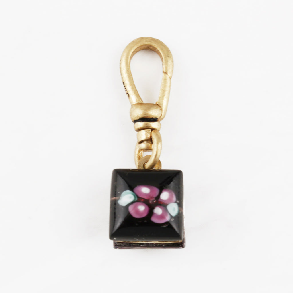 Vintage Two Sided Floral Glass Square Charm