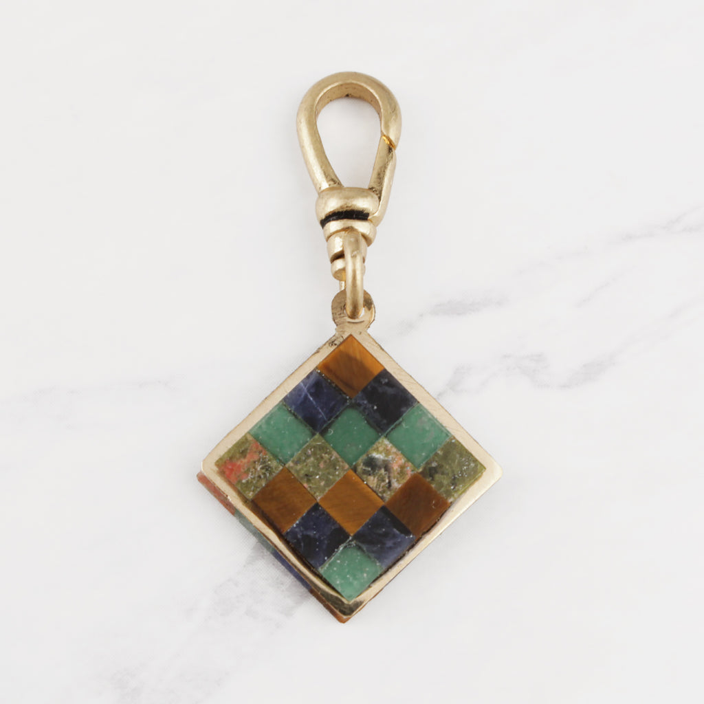 Vintage Two Sided Stone Mosaic Charm