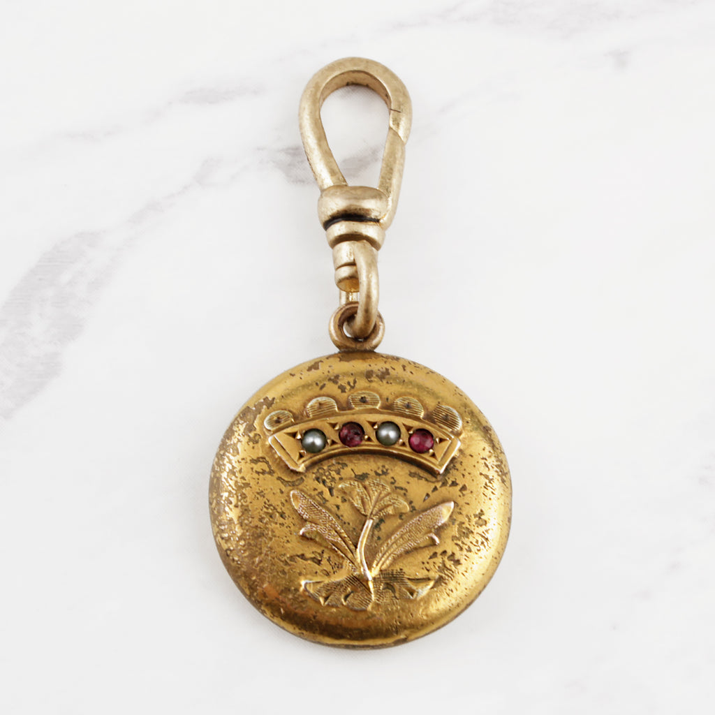 Antique Gold Filled Flower & Crown Fob Charm