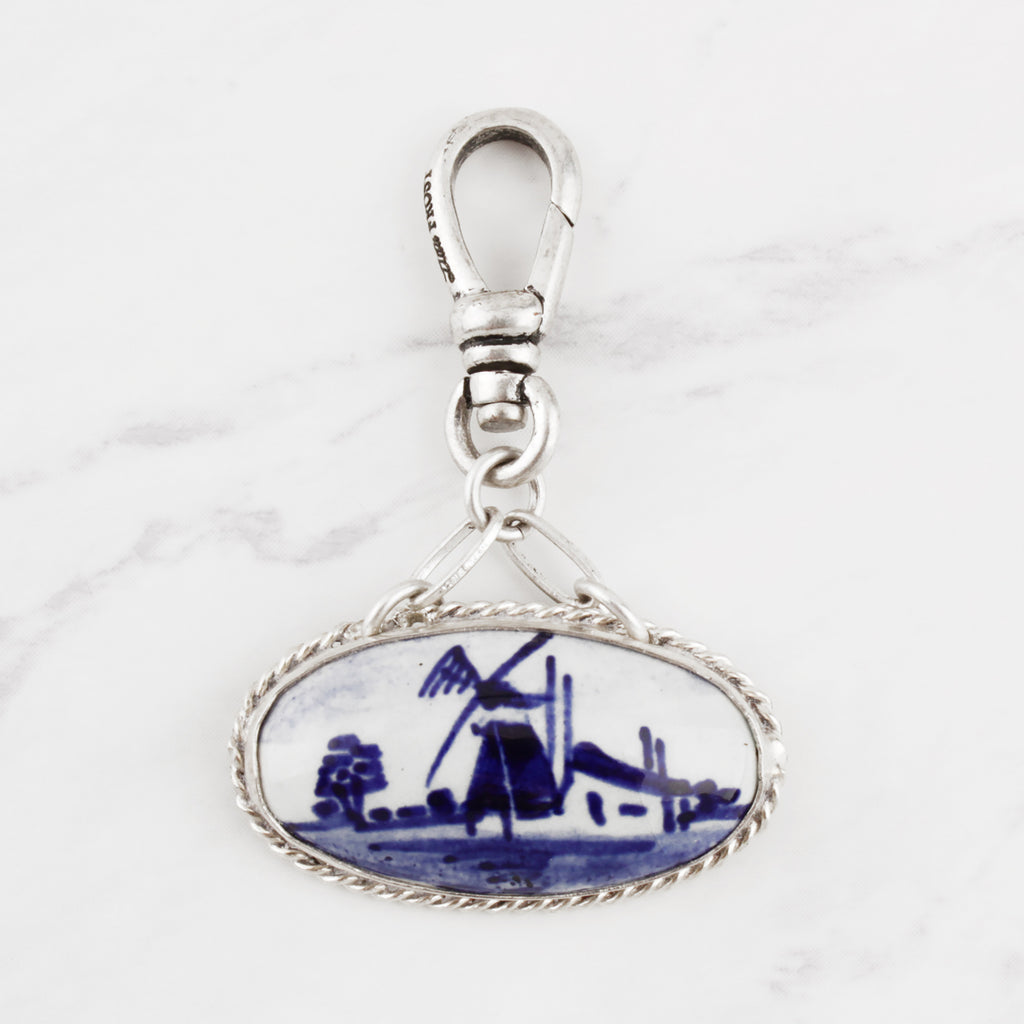Vintage Delft Blue Windmill Charm