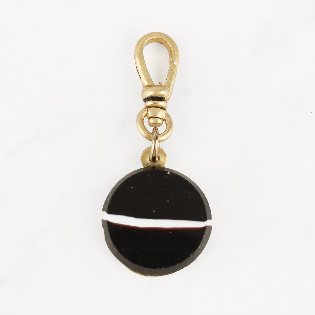 Antique Banded Agate Black with White Stripe English Horizon Charm