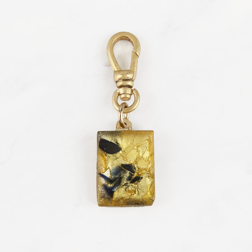 Vintage Czech Glass Rectangular Gold and Navy Metallic Foiled Nicky Charm