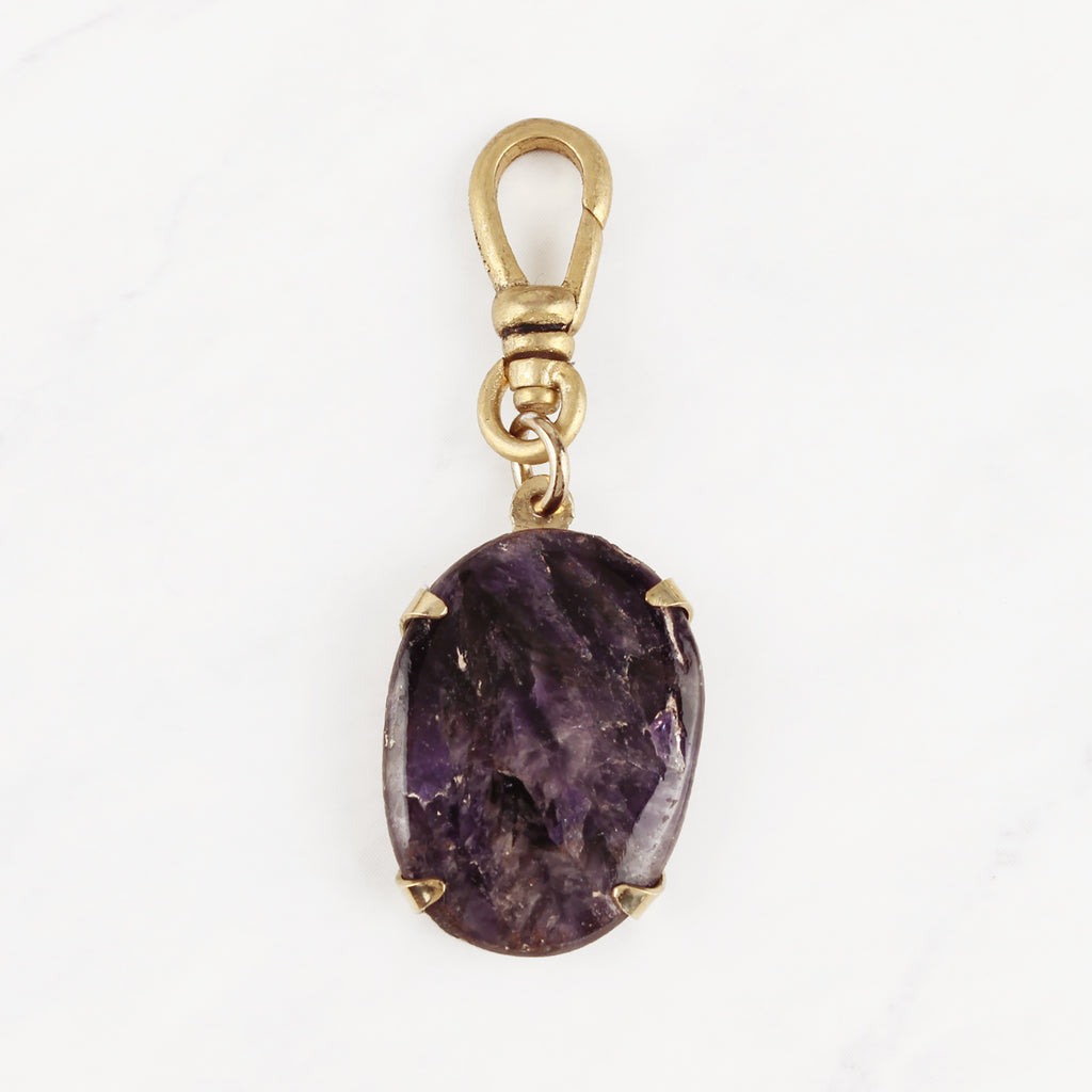 Antique English Lapidary Deep Purple Amethyst Cabochon Andrela Charm