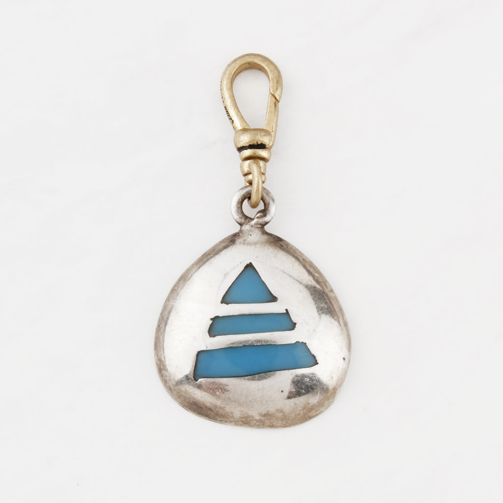 Vintage Mexican Handmade Sterling Silver and Polished Turquoise La Pyramide Charm