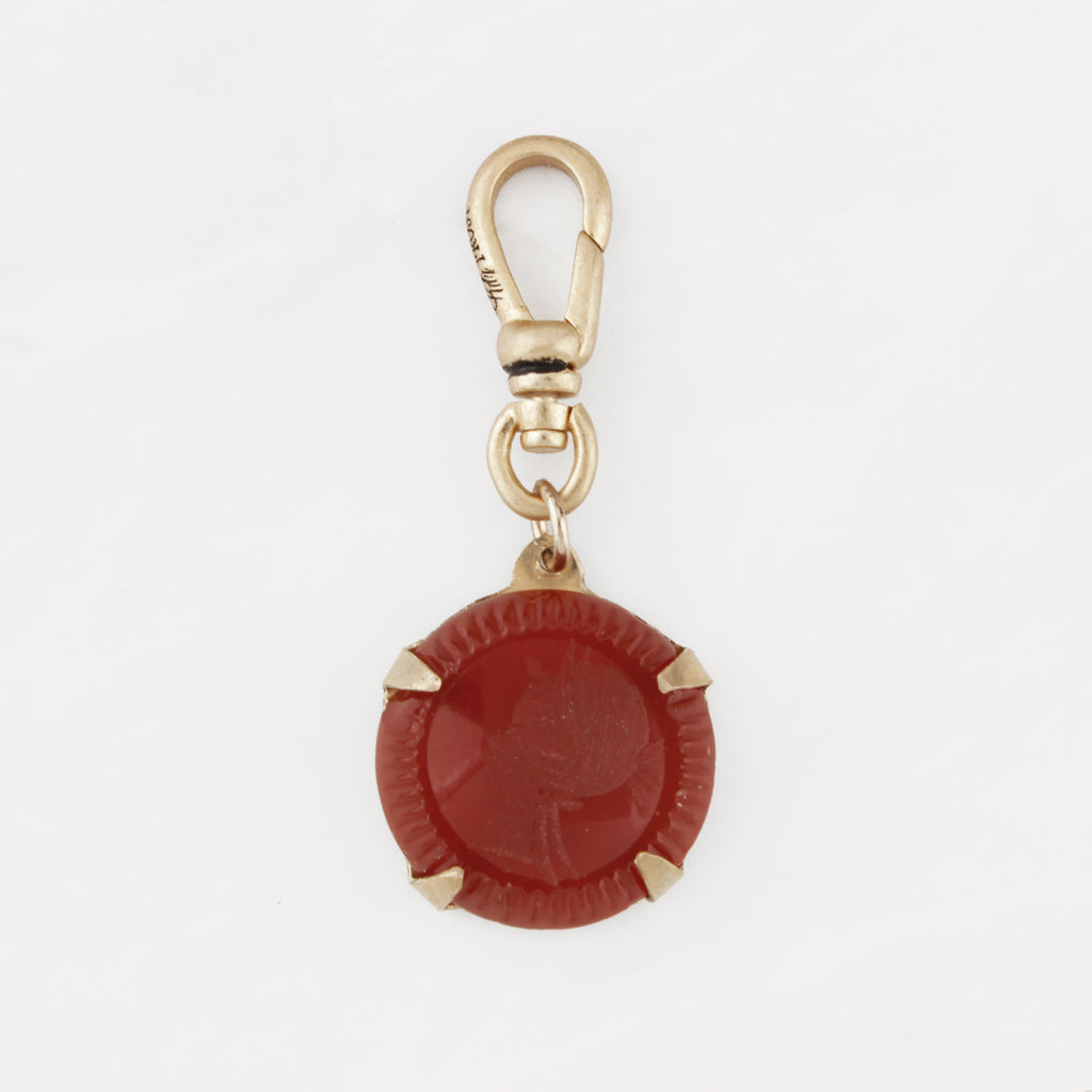 Antique Persimmon Carnelian Carved Soldier Intaglio Inigo Charm