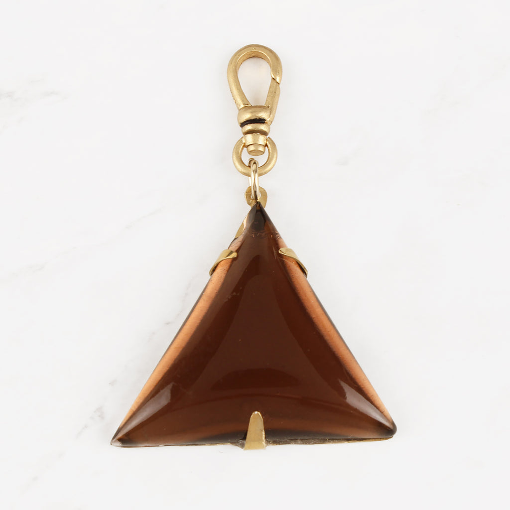 Vintage Czech Glass Chocolate Caramel Triangular Cabochon Trina Charm