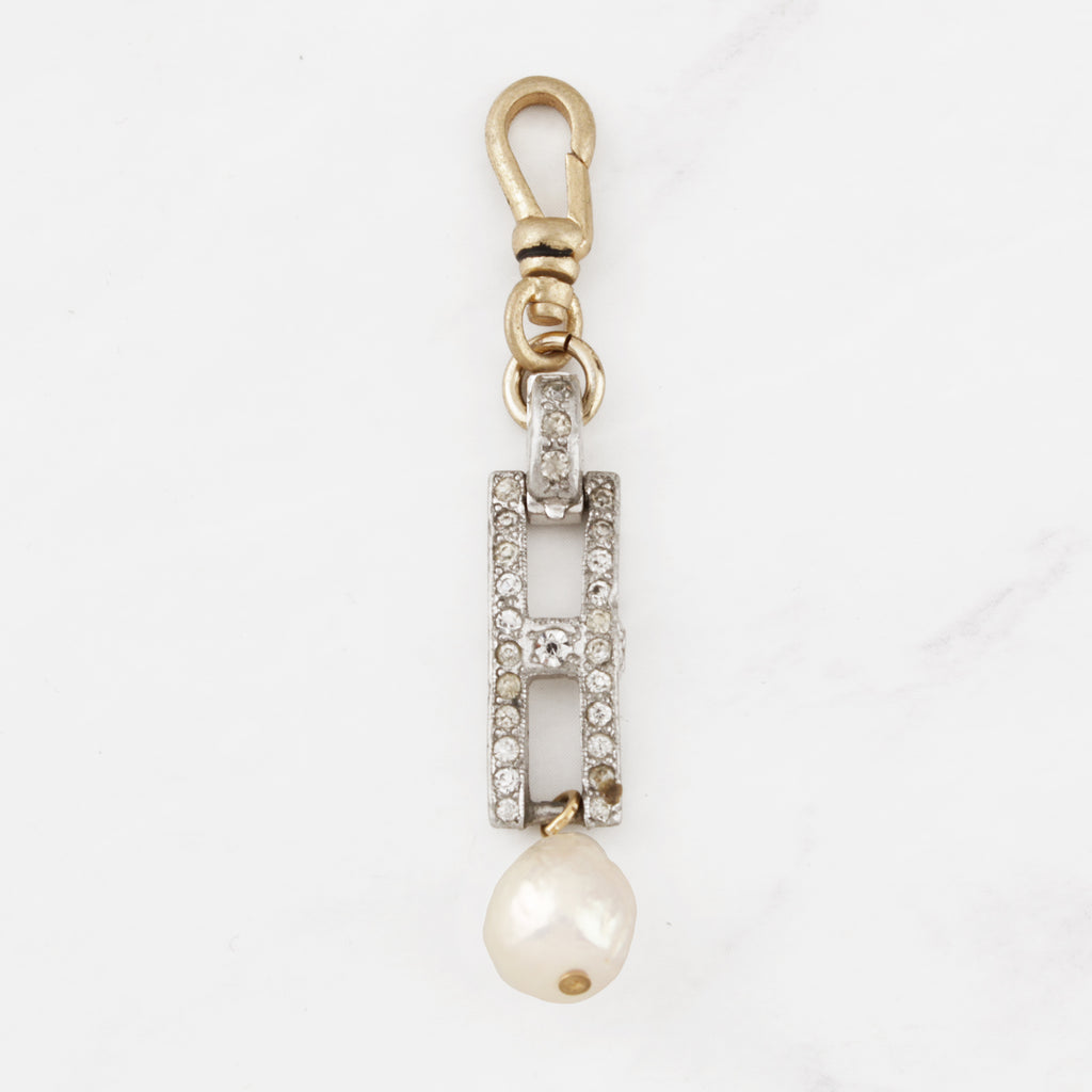 Vintage Art Deco Crystal Link and Pearl Lorraine Charm