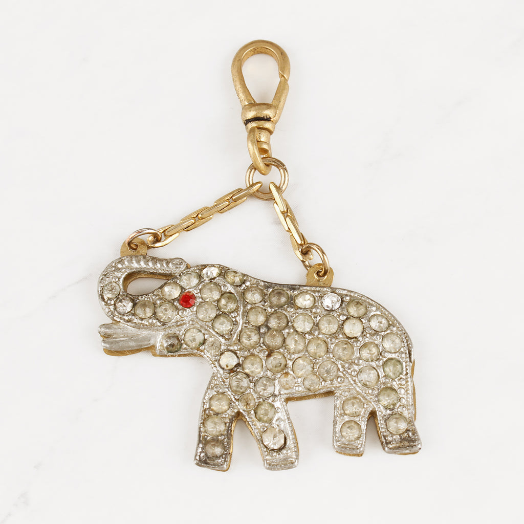 Vintage 1940's Glass Crystal Lucky Elephant Trunks Up Charm