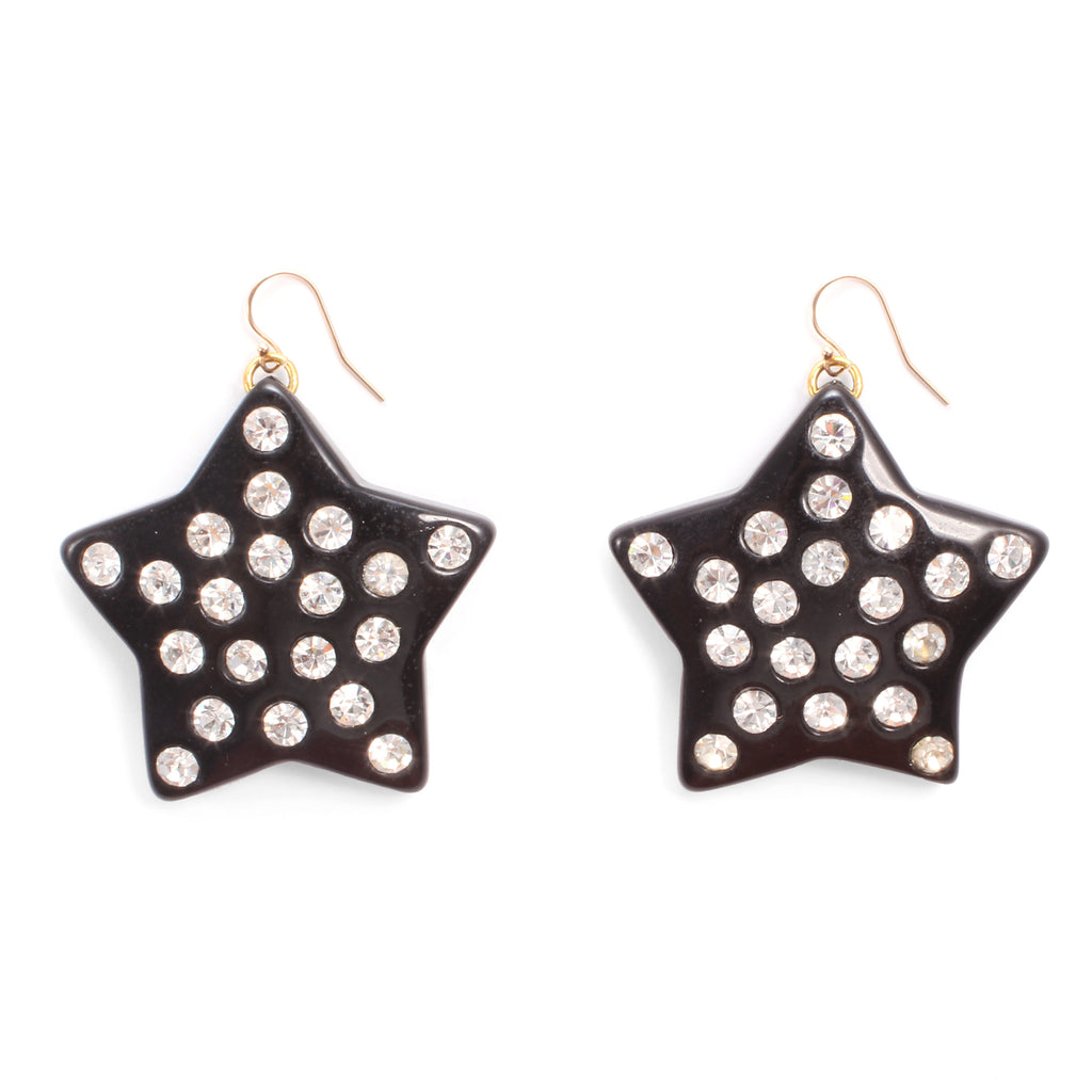 Vintage Crystal Dotted Star Earrings - Photo