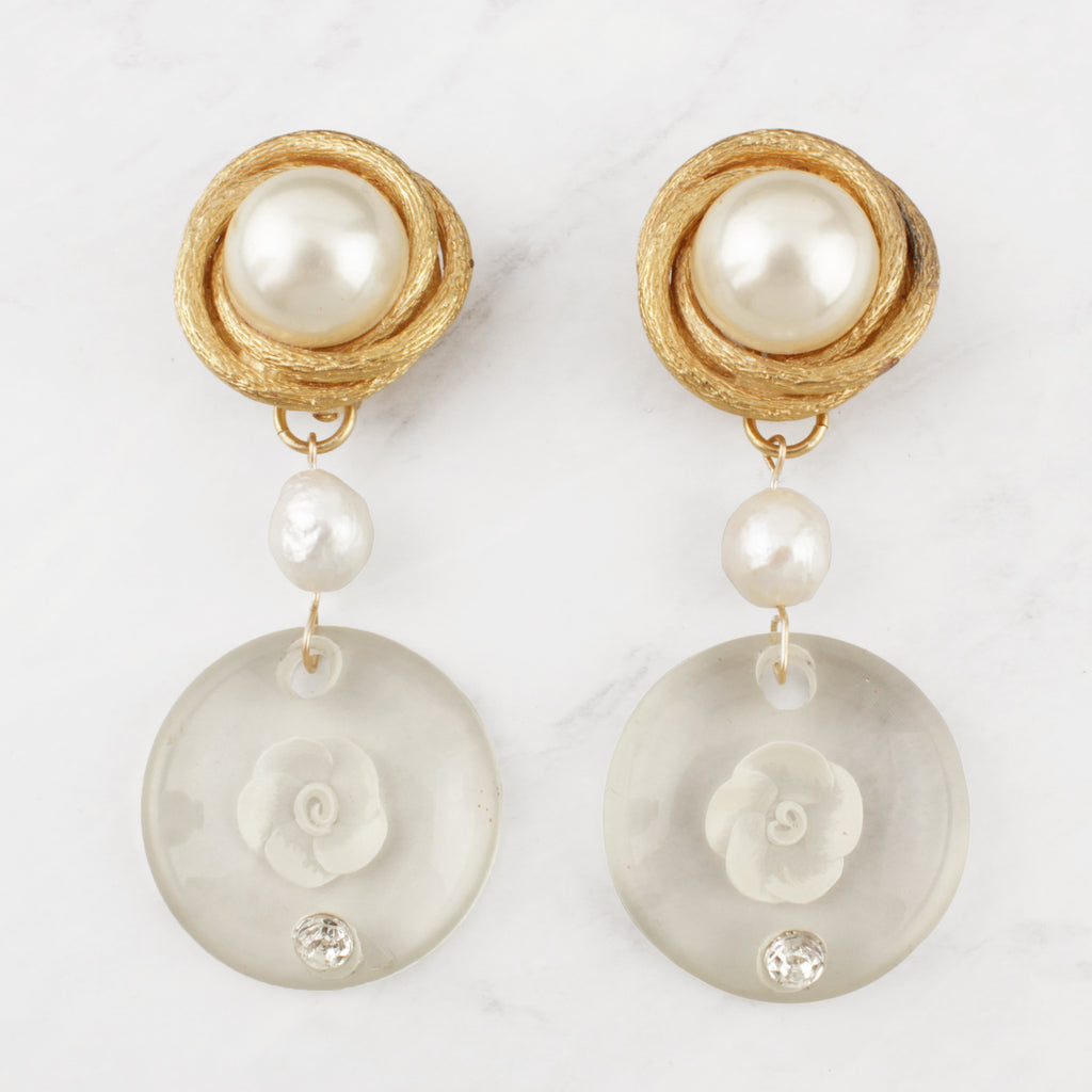 Vintage Faux n' Natural Pearl Carved Lucite Claudia Clip-on Earrings