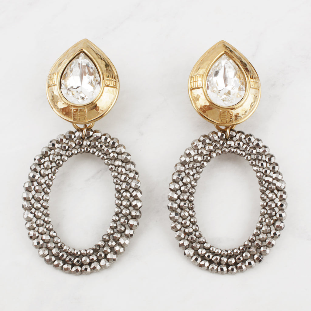 Antique n' Vintage Cut Steel Goldplated Crystal Teardrop Clip-on Nenah Earrings