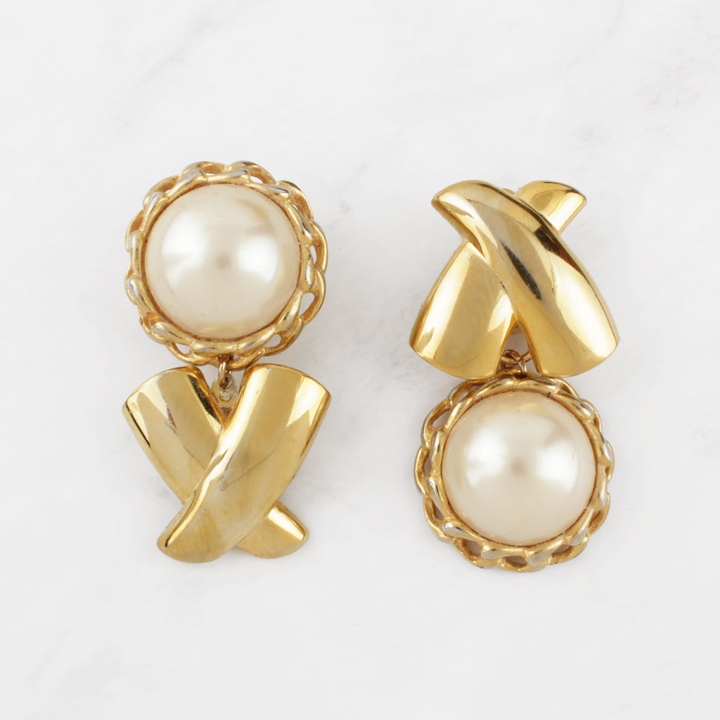 "Vintage Faux Pearl Cabochon and Goldplated Brass ""XOXO"" Naomi Clip-on Earrings"