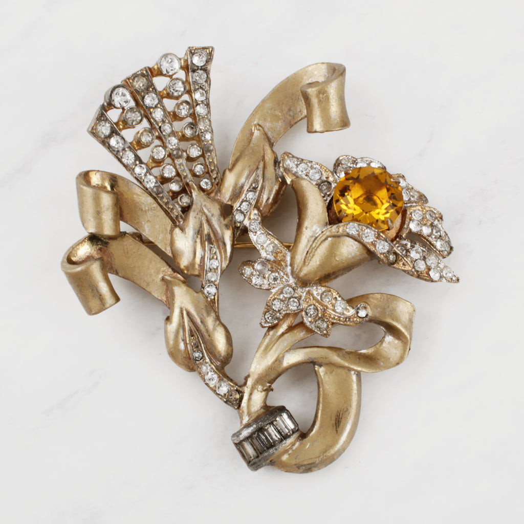 Vintage 1950's Floral Breeze Citrine Glass and Crystal Pavé Brooch