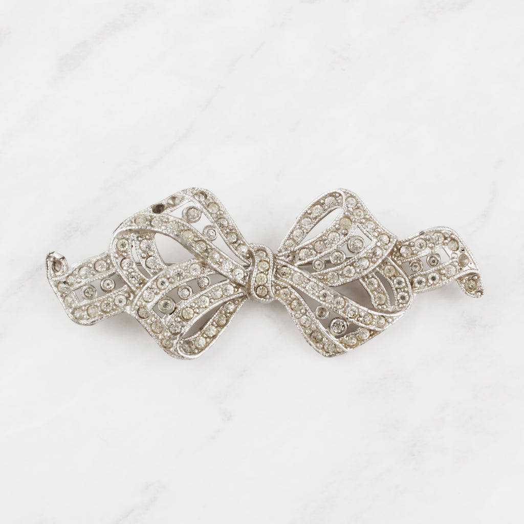 Vintage 1950's Classic Crystal Bow Betty Brooch