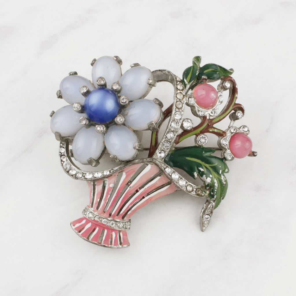 Vintage 1950's Moonglow Glass Enamelled Crystal Floral Bouquet Brooch