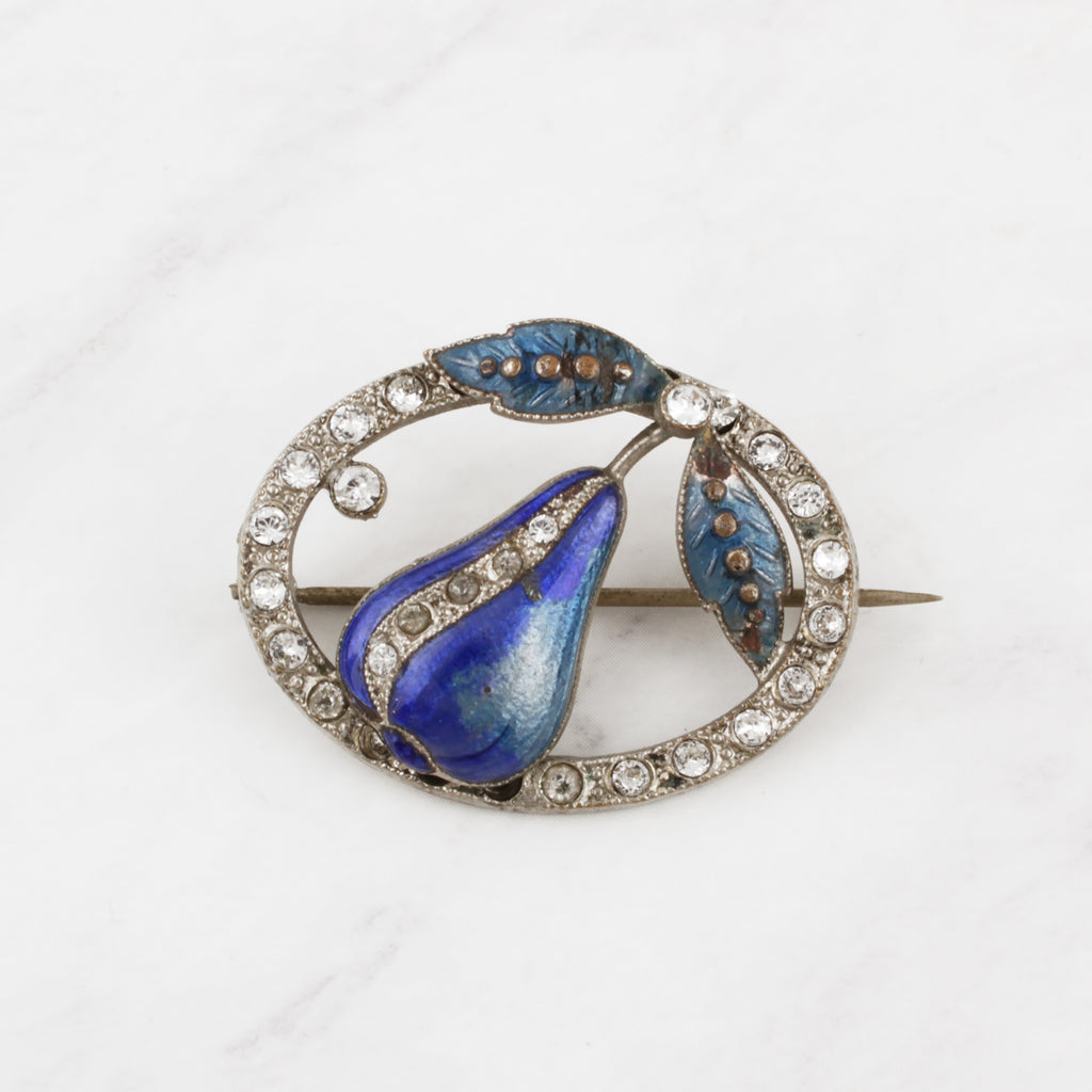 Vintage Translucent Enamel and Crystal Blue Pear Pin
