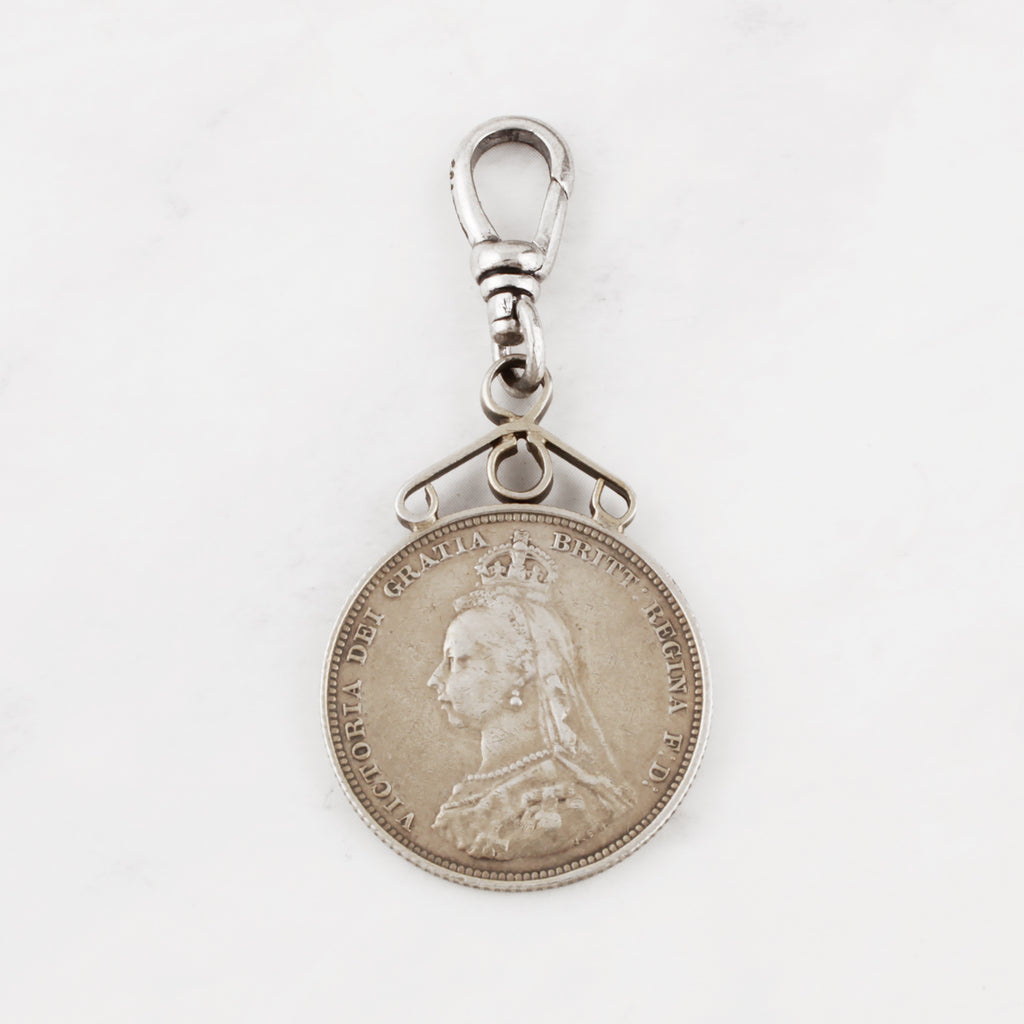 Antique Queen Victoria 1887 Shilling Coin Qui Charm