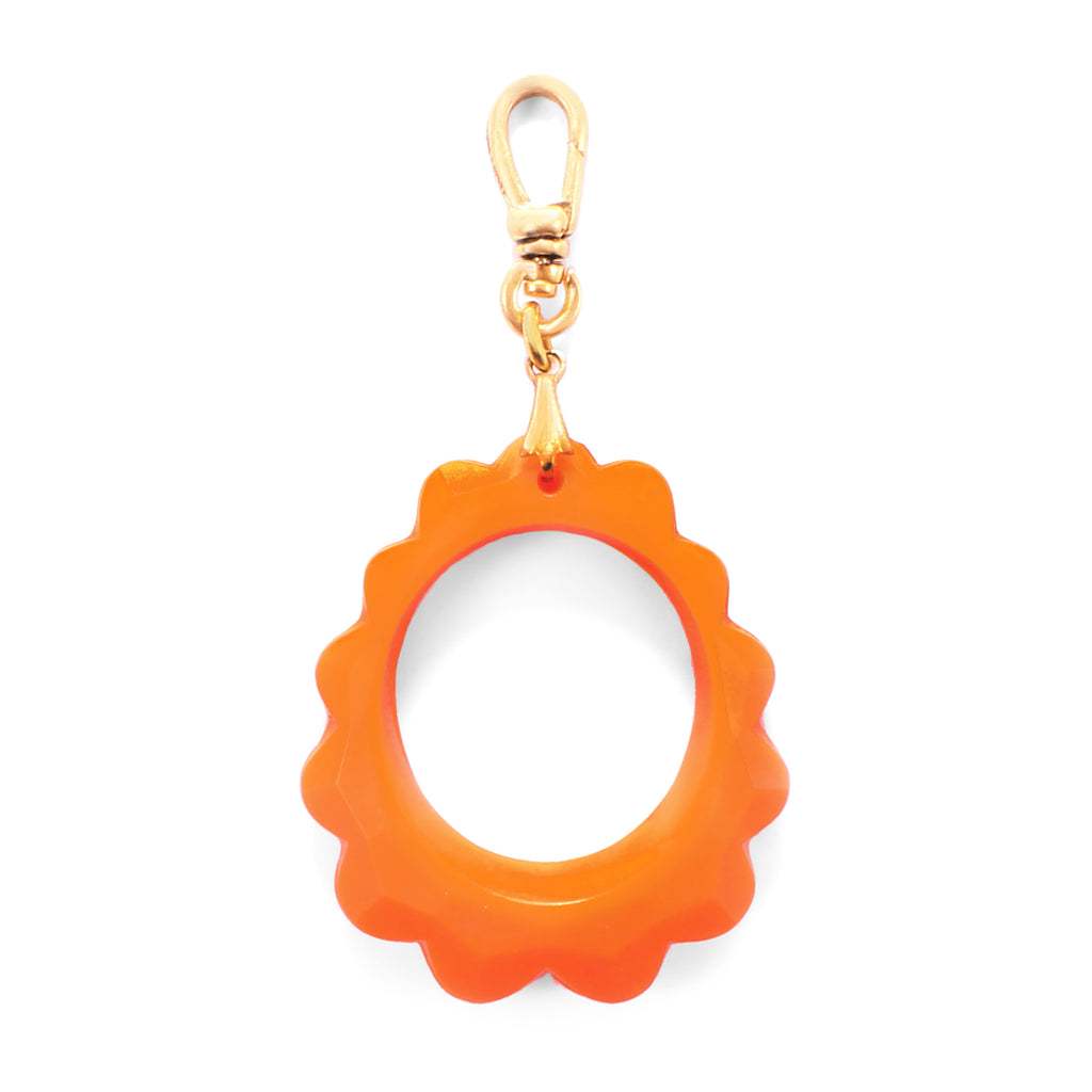 Vintage Orange Resin Faceted Link Charm - Photo