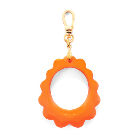 Vintage Orange Resin Faceted Link Charm