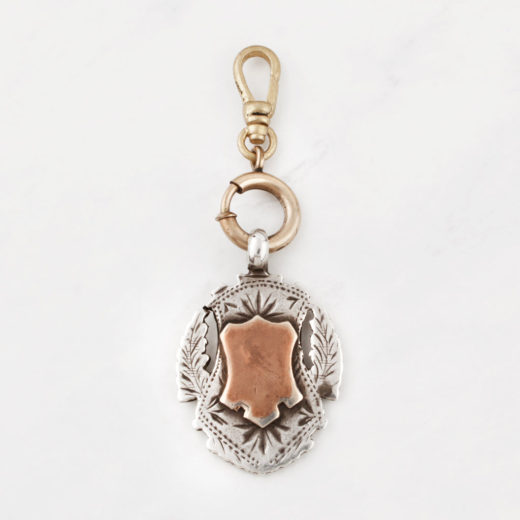 Antique Sterling Silver and 10 Karat Gold Double Shield Medallion Jessa Charm