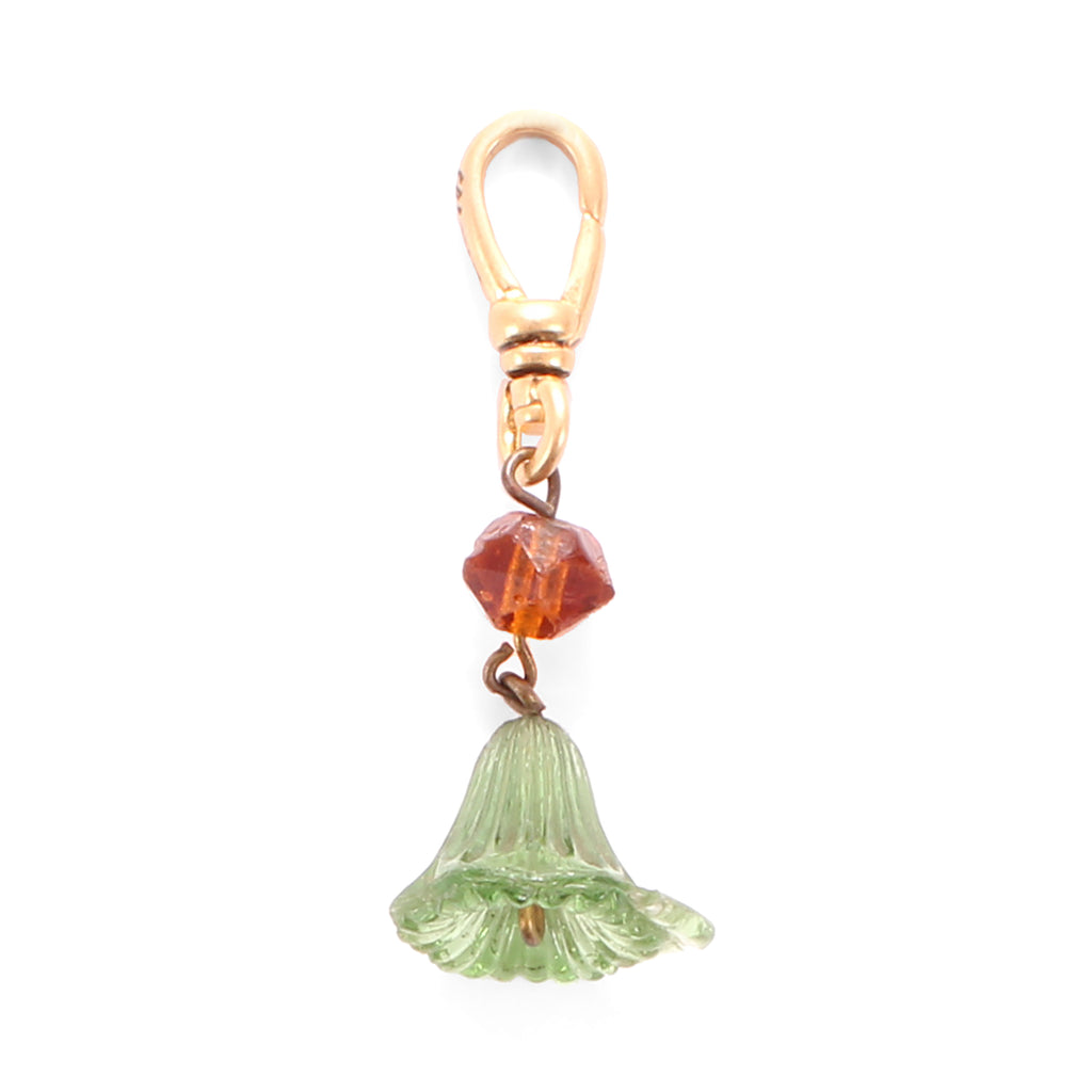 Antique Glass Bell Flower Charm - Photo