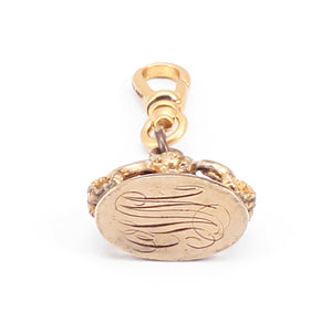 Antique Gold Filled Swagged Fob Seal Charm - Thumbnail