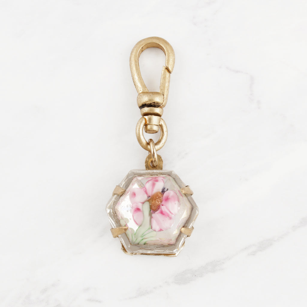 Antique Reverse-Carved Handpainted Pink Peony Glass Charm