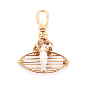 Antique Mother of Pearl Slatted Eye Charm - Thumbnail