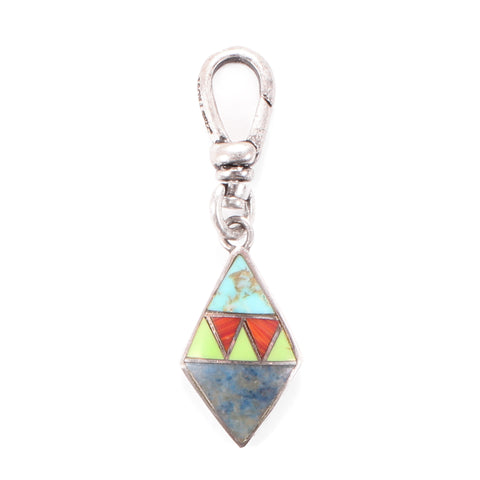 Vintage Sterling Silver Southwestern Inlaid Charm