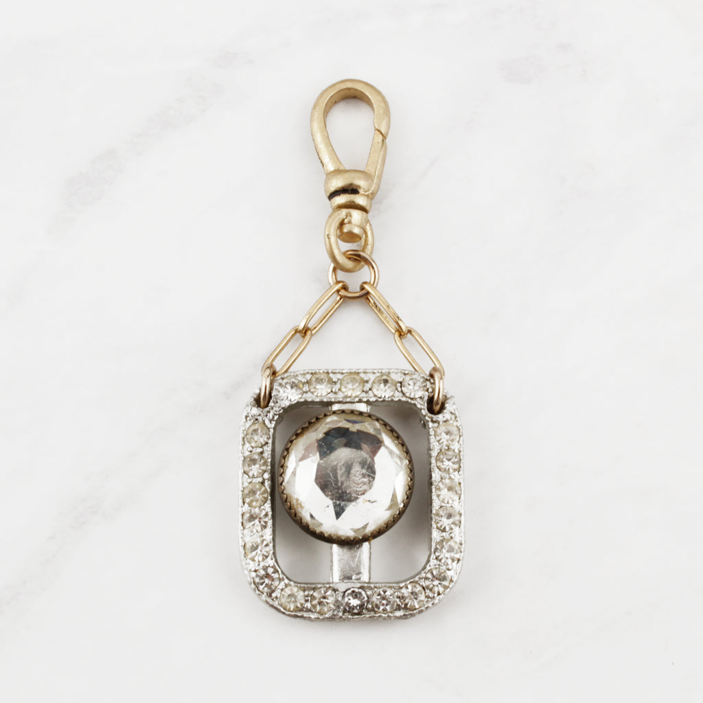 Vintage Rounded Rectangle Crystal and Antique Glass Cabochon Gala Charm