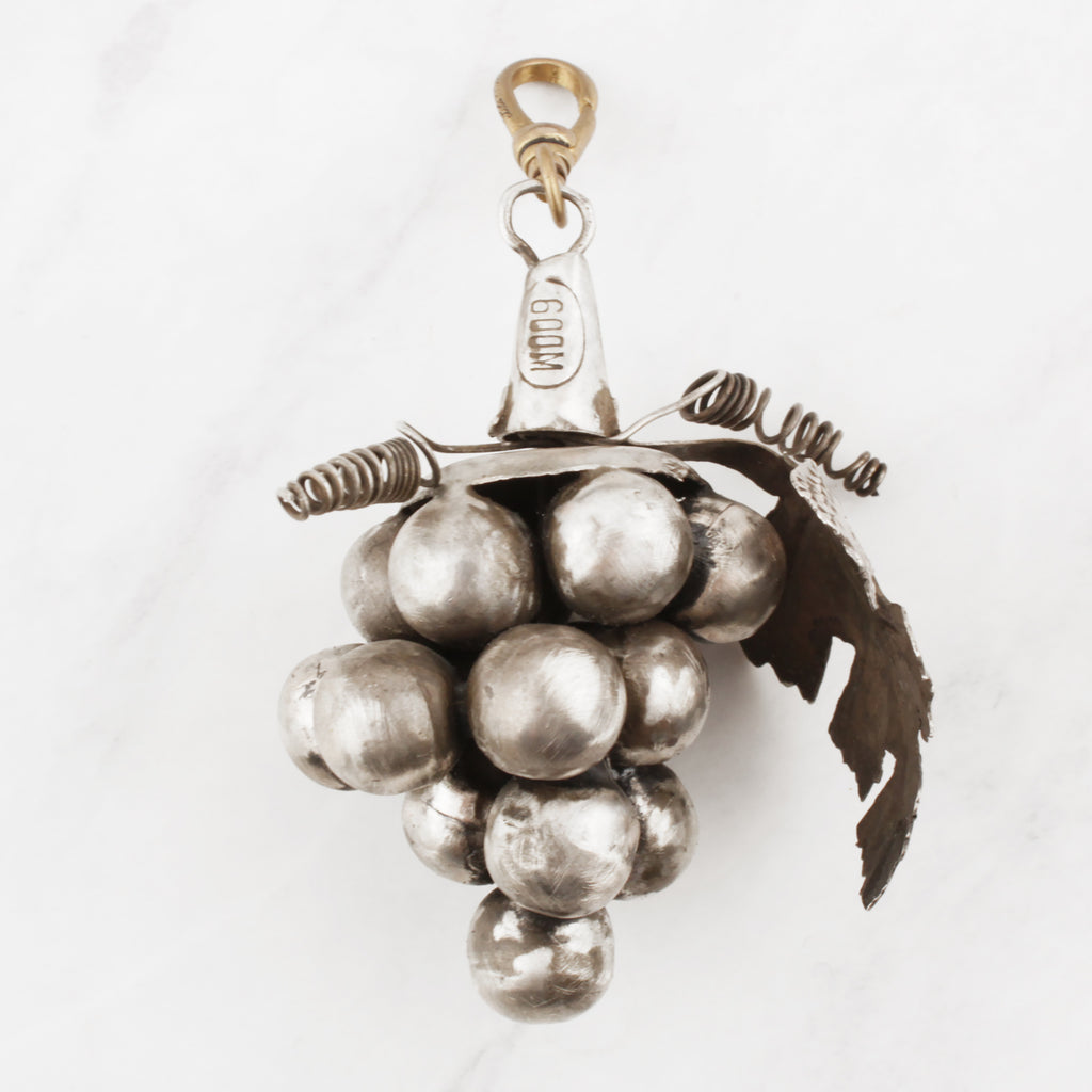 Antique Handmade Sterling Silver Hollowform Grape Cluster Dionysus Charm