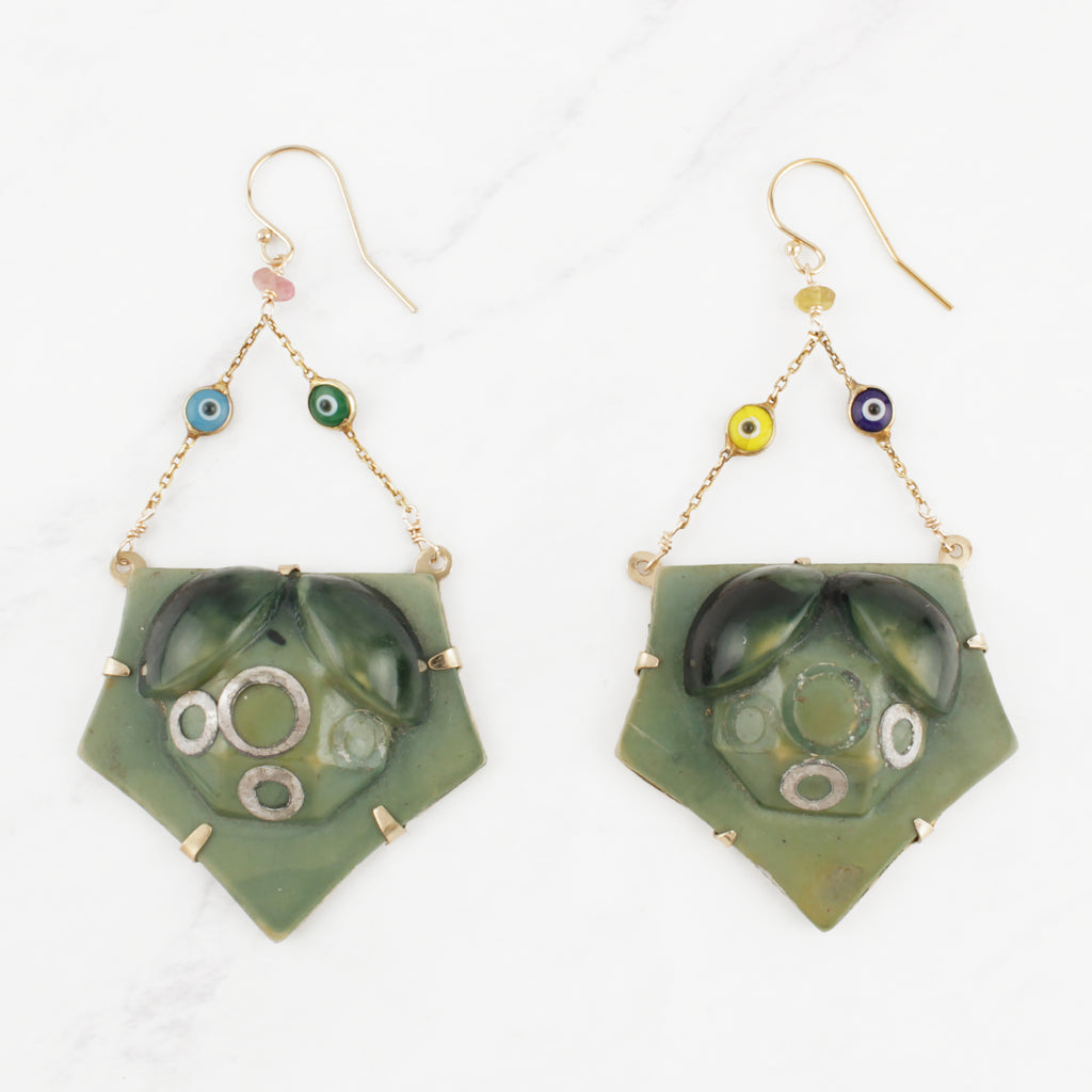 Vintage 1930's Sage Green Celluloid and Goldfill Evil Eye Enamel Chain Earrings