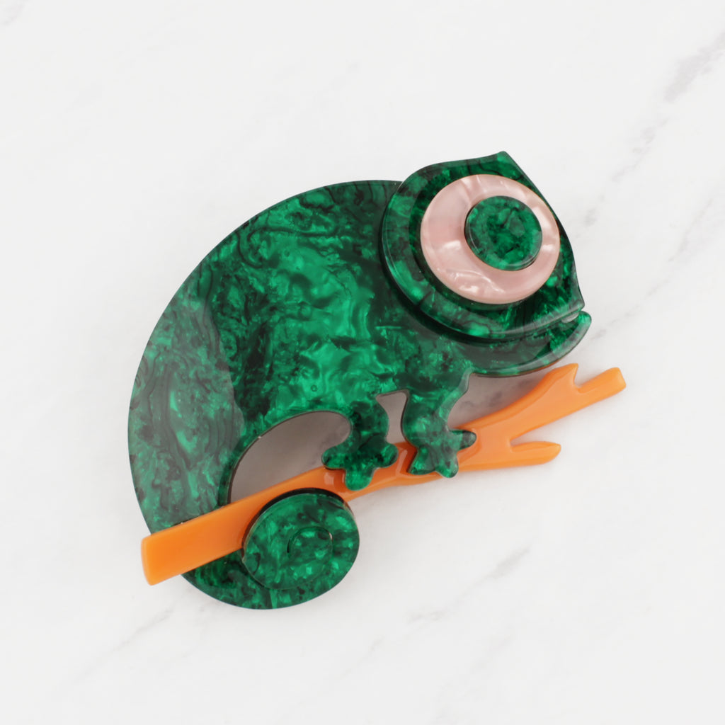 Vintage 1960's Emerald Green, Tangerine and Shell Pink Irridescent Acetate Curlicue Chameleon Pin