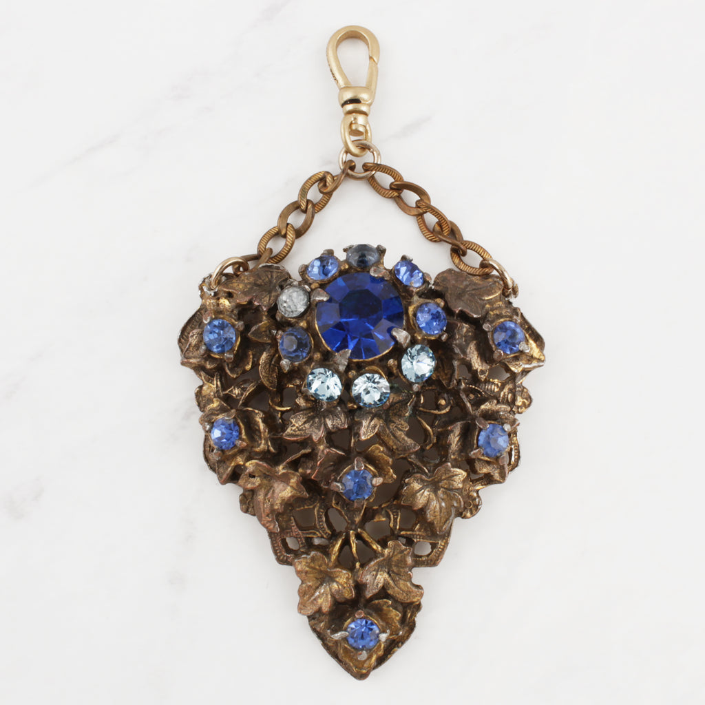 Vintage 1950's Crystal Blues Gilded Brass Dress Clip Charm
