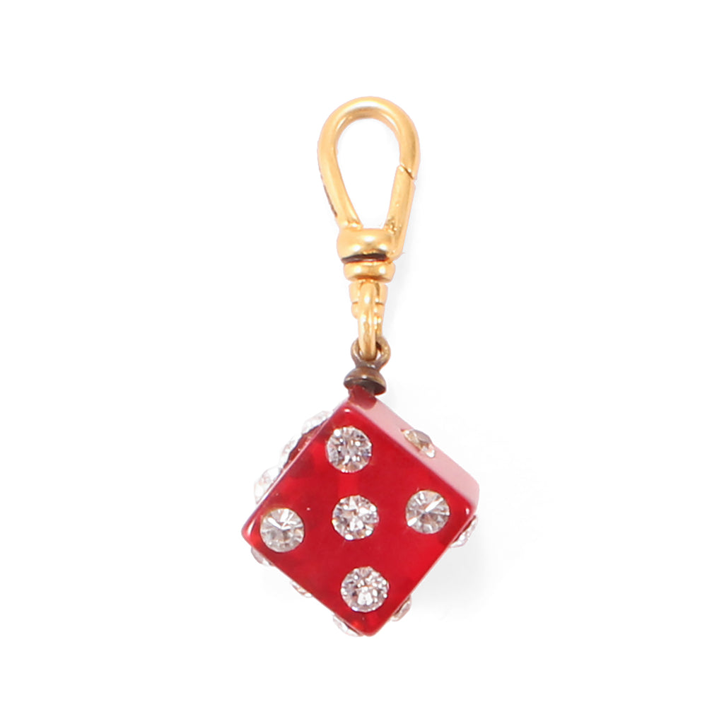 Vintage Cherry Bakelite & Crystal Dice Charm - Photo